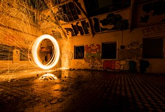 Boys village steel wool (technodean2000) Tags: wool boys st night t nikon village steel athens barry sparks lightroom aberthaw nion athans d5300 firewool