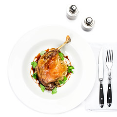 Roasted chicken seasoned with fresh herbs (Natalia Zakharova) Tags: food white green chicken closeup dinner cutout studio lunch golden duck potatoes lemon breast dish skin fig tomatoes tasty plate nobody meat roast gourmet crispy whole poultry meal oil dining cooked grilled herb isolated glazed roasted fillet seasoned appetizing