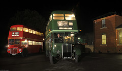 RM1966 & RT3228 (peterphotographic) Tags: uk england bus station night train dark nikon britain railway routemaster essex epping northweald eppingongarrailway d300s rt3228 rm1966 northwealdstation dsc2899edwm