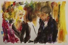 on line (davedehetre) Tags: usa art night watercolor painting lawrence artwork couple kansas conversation