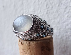 """""""I will give you the moon..."""" (V and the Bats) Tags: silver handmade antique jewelry ring gem jewel sapphire moonstone gemstone handmadejewelry preciousstone 925sterlingsilver antiquedesign iwillgiveyouthemoon"""