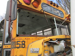 National School Bus Service #8158 (1) (ThoseGuys119) Tags: old newyork rotting junk shed storage historic schoolbus damaged retired scrap conventional defunct laidlaw thomasbuilt firststudent fordb700 nationalschoolbusserviceinc nochassis