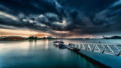 edt-359 (Santo(Thanks for 2 Million++views!!)) Tags: longexposure bridge blue nature water rain architecture clouds dark landscape boats evening lowlight asia natural outdoor jetty dramatic malaysia putrajaya drama
