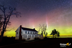 """Ghost Town Aurora"" (Michigan Nut) Tags: nightphotography sky nature night stars photography michigan scenic lakemichigan ghosttown nightsky sleepingbeardunes northernlights auroraborealis glenhaven"