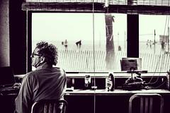World outside my window... (Mark Dilbo) Tags: california bw usa beach window monochrome businessman bar composition work computer outside photography glasses photo chair santamonica laptop business blinds blackandwhitephotography teamnikon