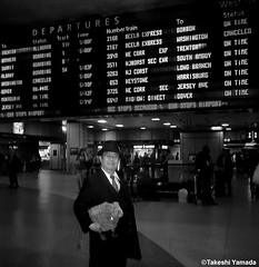 Dr. Takeshi Yamada and Seara (Coney Island Sea Rabbit) at the New York Penn Station in Manhattan, NY on May 13, 2015.  20150513 145=C4BW (searabbits23) Tags: ny newyork sexy celebrity rabbit art hat fashion animal brooklyn asian coneyisland japanese star tv google king artist dragon god manhattan famous gothic goth uma ufo pop taxidermy vogue cnn tuxedo bikini tophat unitednations playboy entertainer oddities genius mermaid amc mardigras salvadordali performer unicorn billclinton seamonster billgates aol vangogh curiosities sideshow jeffkoons pennstation globalwarming mart magician takashimurakami pablopicasso steampunk damienhirst cryptozoology freakshow seara immortalized takeshiyamada roguetaxidermy searabbit barrackobama ladygaga climategate  manwithrabbit