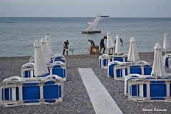 Rodos beach (Eleanna Kounoupa) Tags: blue sea water islands stair greece beaches umbrellas rodos sunbeds       dodecaneseislands