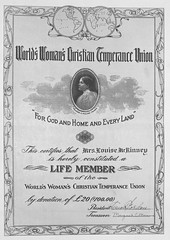 World's Women's Christian Temperance Union Certificate awarded to Louise McKinney (Provincial Archives of Alberta) Tags: canada alcohol alberta prohibition temperance