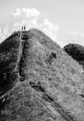 Tranquility (RM Ampongan) Tags: red tranquil moment quitinday hill camalig albay philippines bicol region only street photography step steps upward climb cloud grass stairs dust landscape tall sunny day