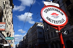 Bim Albertgasse (rainbowcave) Tags: vienna wien clouds wolken tram sunny stop sonnig tramway haltestelle bim strasenbahn
