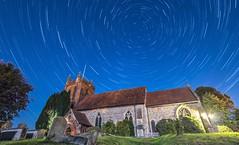 St Andrews Chuch, Colne Engaine, Star Trail. (Tony Smith Photo's) Tags: church graveyard stars bluesky astrophotography nightsky startrails polaris polestar