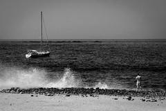 Stranded (ismcgregor68) Tags: sea sky white black beach monochrome boats spain waves tenerife