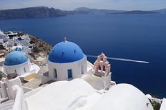 Blue dome in Oia (Cagsawa) Tags: blue church bells whitehouse bluewater santorini greece caldera oia fira bluedome rx100