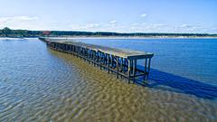 Muelle de El Calabrs (Marcelo Campi) Tags: river muelle pier sky beach sand trees shadows urbanexploration aerial djiglobal