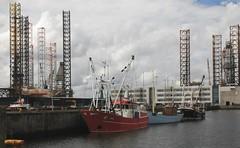 Hafenregion - Stahlfachwerk; Esbjerg, Dnemark (146) (Chironius) Tags: esberg dnemark esbjerg denmark danmark hafengebiet industrie meer see northsea merdunord mardelnorte maredelnord stahl stahlfachwerk fachwerkskonstruktion