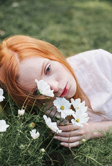 (*Nishe) Tags: girl portrait flowers red hair freckles