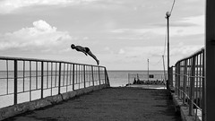 The Dive (Ktoine) Tags: blackandwhite sea crimea russia pier dive diving bw could jump man