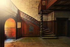 Chateau Marmont (klickertrigger) Tags: abandoned castles chateau staircase steps wood woodwork golden beautiful decay sunset sunrise dust stefan dietze
