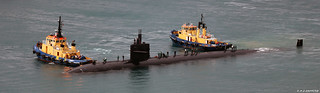 United States Navy Los Angeles-class Submarine USS Helena (SSN-725) arriving at HM Naval Base, Gibraltar