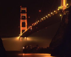 How Low Can it Go at the Golden Gate Bridge (RZ68) Tags: bridge lighthouse film water fog night dark point golden gate san francisco rocks long exposure baker fort marin low towers under foggy cliffs spooky velvia telephoto headlands ft re lime provia rz67 ggnra e100