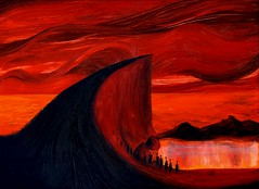 Tidal Life (CityOfDave) Tags: life red cliff art beach water illustration clouds painting landscape acrylic alien
