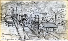 Drammens jernbanebru, sumaren 1873 (Noregs geologiske undersking) Tags: norway geology nor tog drammen ngu geologi lokomotiv norgesgeologiskeunderskelse buskerud feltarbeid ngufeltarbeid