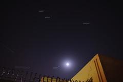 A meteor shower with the Jupiter & the Moon conjunction (Farman22) Tags: pakistan moon stars astrophotography astronomy jupiter karachi gemini constellation castor pollux meteorshower germinids