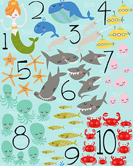 Under the Sea 1-2-3 (Patty Rybolt Designs) Tags: fish shark jellyfish starfish math octopus whales crabs mermaid counting submarines schooloffish