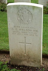 A.E. Nelson, Royal Irish Rifles, 1916, War Grave, Connaught Cemetery (PaulHP) Tags: street ireland irish france cemetery war 1st action military albert headstone mary royal 4th july nelson belfast rifles medal bn graves number edward lance killed service mm ww1 kia ernest ae rir corporal bryson antrim 1916 connaught 1895 somme battalion thiepval 6322 shankhill cwgc