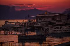 tranquility (Ivan Peki) Tags: pink sunset red orange house water night river dark boat still quiet calm silence hush