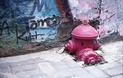 Emerging Fire Hydrant (bortx_) Tags: china street art film hydrant canon de lens fire arte shanghai time kodak boom bubble analogue boca portra vc auge incendio burbuja xina fd especulacin analgico 160 speculation callejero at1 pelcula canonat1