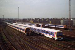 465238 & 465239, Clapham Junction, January 30th 1993 (Southsea_Matt) Tags: networksoutheast class465 class455 class159 class423 4vep 159008 159012 465238 465239