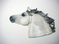 Gray Highland Pony (J. Nicholai) Tags: sculpture horse handmade gray relief ornament pony medallion sculpey handcrafted bas equine kato fleabittengray