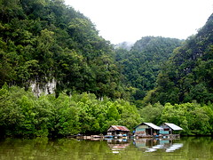 Up river in the misty mountains (leewoods106) Tags: ocean trip travel blue trees sea vacation house holiday man mountains reflection tree men green wet water misty forest reflections river thailand photography boat photo fishing fisherman holidays asia photos indianocean estuary palmtrees mangrove wetlands limestone traveling mangroves vegitation tranquil krabi andamansea traveler mistymountains riverhouse mistymountain mangroveforest limestonepeaks upriver limestonecliffs southernasia