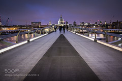 Millennium Bridge (Justin S Reid) Tags: street city uk travel bridge light england sky urban building london tourism water architecture night clouds photography europe cityscape cathedral landmark tourists 500px ifttt dierjscreensaver