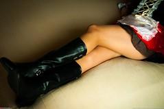 teasing you (Oneras) Tags: sexy legs boots skirt thigh wife heels calf miniskirt milf calves piernas thights