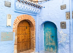 Neighbours (Pamela Sia) Tags: travel blue colors doors details morocco chaouen arquitecture