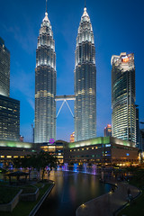 Petronas Twin Towers by Night (CreArtPhoto.ro) Tags: longexposure blue sky orange beautiful architecture night landscape photography lights alley colorful cityscape skyscrapers petronas towers malaysia tall bluehour kualalumpur nori apus noapte lumini cer