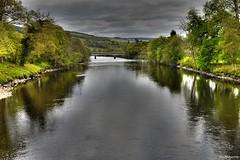 The Tummel (mistinguette.mistinguette) Tags: bridge light sky water weather clouds reflections river riverbank reflets watercourse tummel
