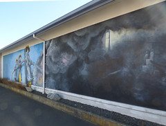 Fire Fighting (Steve Taylor (Photography)) Tags: blue newzealand streetart black men art window water yellow grey graffiti scary mural smoke flames nelson eerie hose 1993 burning nz fireman southisland spike soot firefighter depatment dousing