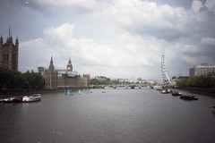 From Lambeth Bridge, on film (Sarah-Louise Burns) Tags: camera city blue sky white london film water westminster thames clouds 35mm vintage river retro analogue iconic halina lambeth
