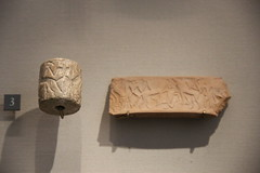 Limestone cylinder seal of heros fighting animals, Early Dynastic Period II, c. 2700-2600 BC (Gary Lee Todd, Ph.D.) Tags: france louvre paris ancient neareast