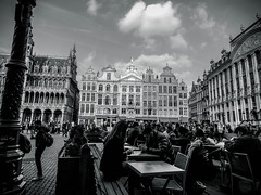 Grand Place, Bruxelles (Alex S. Severino) Tags: street city travel people blackandwhite bw clouds digital hall spring nikon europe afternoon belgium capital streetphotography eu explore journey monuments citycentre biancoenero