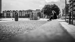 Relax in the city - Dublin, Ireland - Black and white street photography (Giuseppe Milo (www.pixael.com)) Tags: street city ireland sky urban blackandwhite bw dublin woman white black girl monochrome lines clouds composition contrast river relax geotagged photography photo europe fuji candid streetphotography faceless fujifilm onsale leading grandcanal leadinglines fujix xe2 fuji35 fuji3514 fujixe2