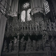 The story of Mary, writ in sculpture 800 years ago in the walls of Chartres (Pale_Cow) Tags: chartres france bw gothic ilford rolleiflex iso3200 120film