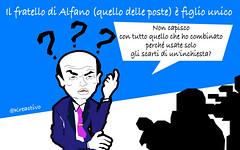 Il ministro Alfa col fratello alle Poste e il padre all'ufficio collocamento di amici e (SatiraItalia) Tags: poste satira alfano