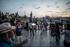 Selfie stick (graufuchs) Tags: fuji fujifilmxpro1 fujifilm walimexpro 12mm samyang fixedfocal wideangle prag prague praha czechrepublic tschechien karlsbrcke hradschin evening night dark darkness sky clouds europa europe outdoor