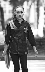 coyoacan 403 b&w (L Urquiza) Tags: city girl mexico ciudad waitress coyoacan