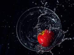 Apple Juice (crystalpenelope) Tags: olympus omd em5 em5mii em5m2 em5markii singapore highspeed freeze freezing motion apple colour fruits splash water fresh