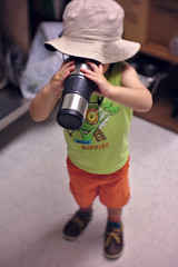 """""""Coffee"""" drinking toddler (Scott SM) Tags: upenn university pennsylvania toddler 2 year old two coffee tea break room hat drink metal cup"""